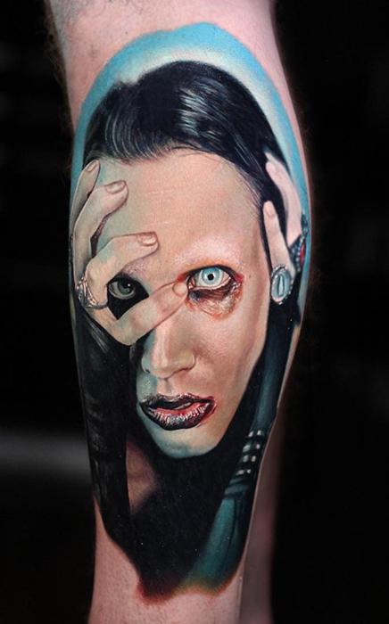 realistic portrait tattoo of Marilyn Manson