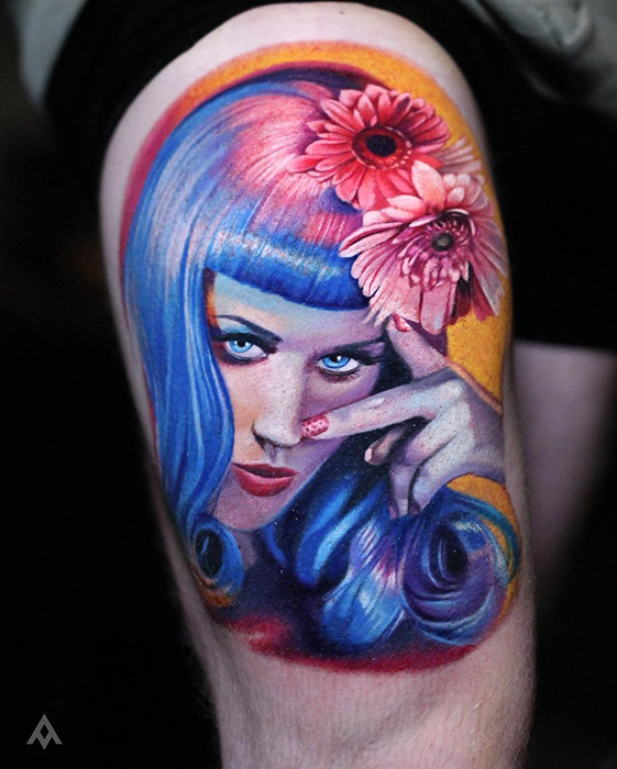 realistic portrait tattoo of Katy Perry